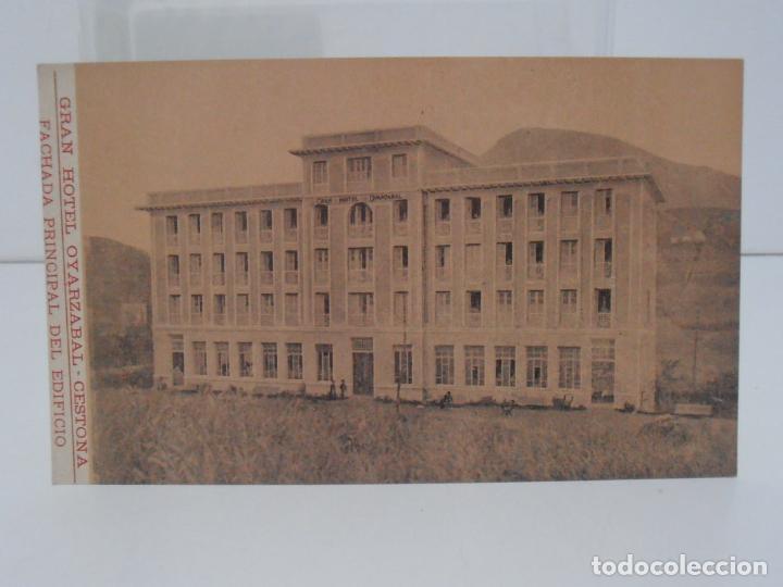 ANTIGUA POSTAL, CESTONA, GRAN HOTEL OYARZABAL, FACHADA PRINCIPAL DEL EDIFICIO, TARJETA POSTAL (Postales - España - Pais Vasco Antigua (hasta 1939))
