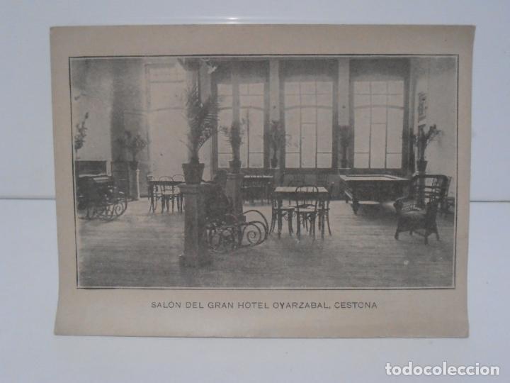 ANTIGUA POSTAL, CESTONA, GRAN HOTEL OYARZABAL, SALON, TARJETA POSTAL (Postales - España - Pais Vasco Antigua (hasta 1939))