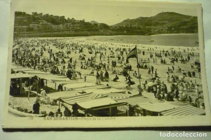 POSTAL S.SEBASTIAN .-PLAYA CONCHA -ROISIN (Postales - España - País Vasco Moderna (desde 1940))