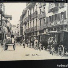 Postales: PRECIOSA POSTAL IRUN CALLE MAYOR EDIC E. J. G. GUIPUZCOA PAIS VASCO MUY ANIMADA COCHES CABALLOS. Lote 104027883
