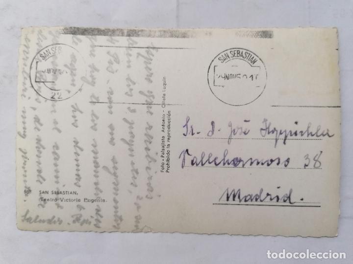 Postales: POSTAL SAN SEBASTIAN, TEATRO VICTORIA EUGENIA, ESCRITA AÑOS 50 - Foto 2 - 221966297