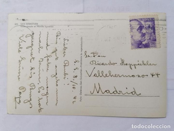 Postales: POSTAL SAN SEBASTIAN, VISTA DESDE EL MONTE IGUELDO, ESCRITA AÑOS 50 - Foto 2 - 221967690