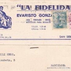 Postales: POSTAL COMERCIAL LA FIDELIDAD DE EVARISTO GONZALEZ. CIRCULADA EN 1952. Lote 222039946