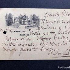 Postales: BIDEBIETA / PASAJES / SAN SEBASTIAN / CIRCULADA EN 1908. Lote 222253321