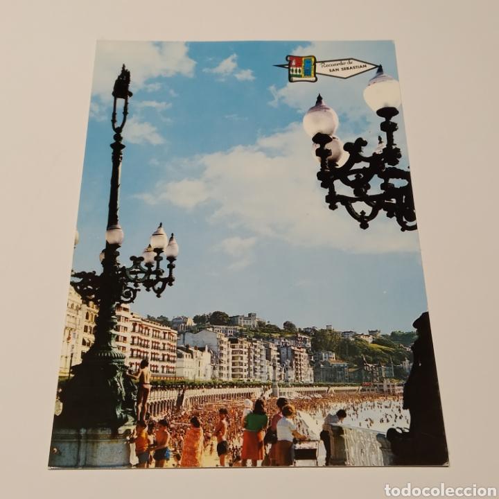 Postales: ¡IRREPETIBLE! San Sebastián Playa de la Concha, EL PERGAMINO Lote de clichés de imprenta + postal - Foto 2 - 222380688