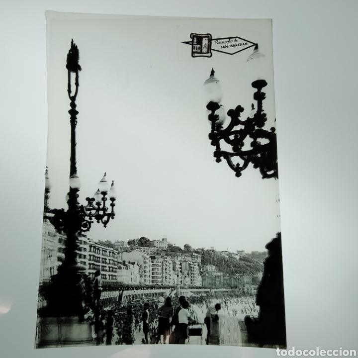 Postales: ¡IRREPETIBLE! San Sebastián Playa de la Concha, EL PERGAMINO Lote de clichés de imprenta + postal - Foto 4 - 222380688