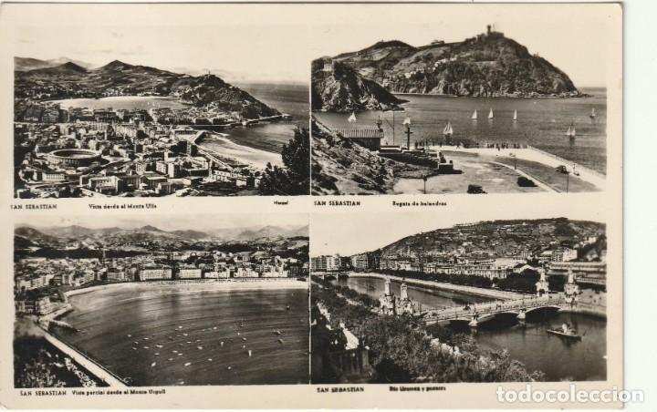 POSTAL VISTAS DE SAN SEBASTIAN FECHADA 18.9.1956 CIRCULADA SIN SELLO (Postales - España - País Vasco Moderna (desde 1940))