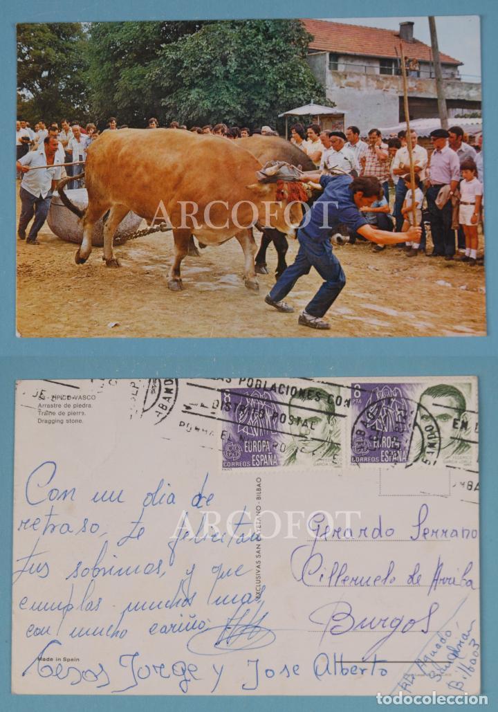 ANTIGUA TARJETA POSTAL - PAÍS VASCO - ARRASTRE DE PIEDRA (Postales - España - País Vasco Moderna (desde 1940))