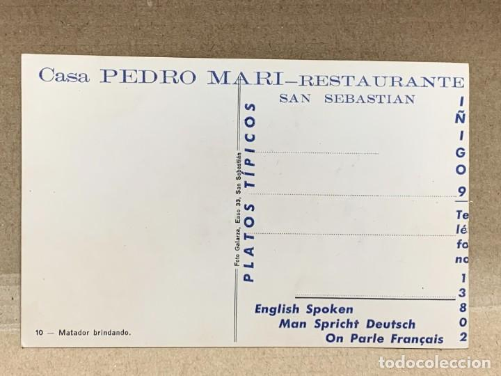 Postales: POSTAL FOT GALARZA COLOREADA PUBLICIDAD CASA PEDRO MARI MATADOR BRINDANDO - Foto 3 - 226087950