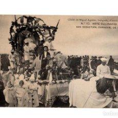 Postales: SAN SEBASTIÁN.(GUIPÚZCOA).- CARNAVAL DE 1908.- ARTE CULINARIO.. Lote 232049935