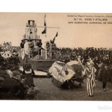 Postales: SAN SEBASTIÁN.(GUIPÚZCOA).- CARNAVAL DE 1908.- FARO ATALAYA.. Lote 232053080