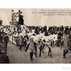 Postales: SAN SEBASTIÁN.(GUIPÚZCOA).- CARNAVAL DE 1908.- ALEGORÍA DE INDUSTRIA Y COMERCIO.. Lote 232053570