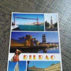 Postales: POSTAL BILBAO PUENTE SUSPENDIDO MONUMENTO AL SAGRADO CORAZÓN MUSEO GUGGENHEIM CATEDRAL SANTIAGO. Lote 234482105