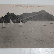 Postales: SAN SEBASTIÁN ISLA DE SANTA CLARA Y MONTE IGUELDO. Lote 234769295