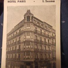 Postales: POSTAL PUBLICITARIA HOTEL PARIS SAN SEBASTIÁN I. SESMA. Lote 234797810
