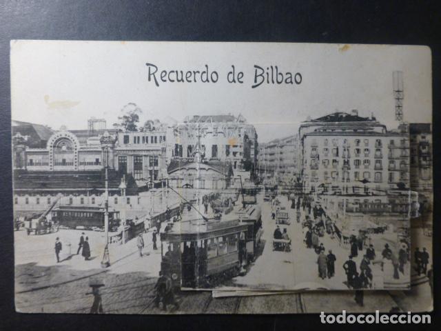 BILBAO RECUERDO PUENTE DEL ARENAL POSTALCON TIRA DESPLEGABLE (Postales - España - Pais Vasco Antigua (hasta 1939))
