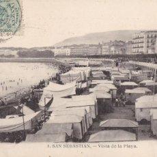 Postales: SAN SEBASTIAN, VISTA DE LA PLAYA. ED. MAYOR HERMANOS Nº 1. CIRCULADA. Lote 235156790