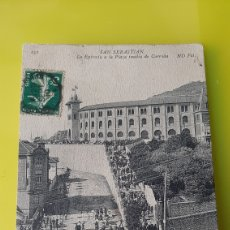 Postales: 1910 MATASELLO SAN SEBASTIÁN LA ENTRADA PLAZA CORRIDA ND. Lote 237883325
