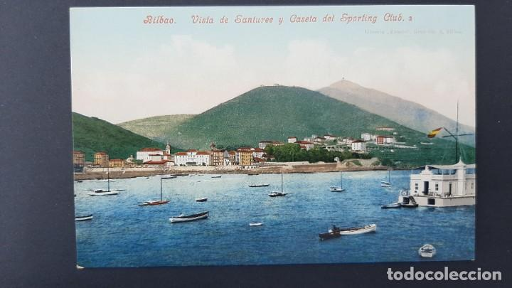 LOTE 040221.- POSTAL BILBAO VISTA SANTURCE Y CASETA DEL SPORTING CLUB ED: PURGER & CO (Postales - España - Pais Vasco Antigua (hasta 1939))