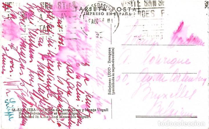 Postales: Nº 53-SAN SEBASTIÁN. Isla de Santa Clara y Monte Urgull. Circulada en 1958. EDICIONES LUJO - Foto 2 - 243606710