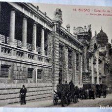 Postales: TARJETA POSTAL ANTIGUA - BILBAO - FOTOGRAFO L..ROISIN - ESTACION DE SANTANDER - PERFECTA. Lote 243675030
