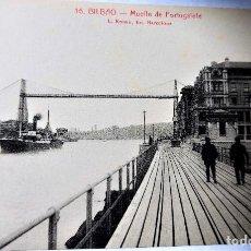 Postales: TARJETA POSTAL ANTIGUA - BILBAO - FOTOGRAFO L..ROISIN - MUELLE DE PORTUGALETE - PERFECTA. Lote 243675295