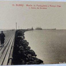 Cartoline: TARJETA POSTAL ANTIGUA - BILBAO - FOTOGRAFO L..ROISIN -MUELLE DE PORTUGALETE Y ROMPEOLAS- PERFECTA. Lote 243677515