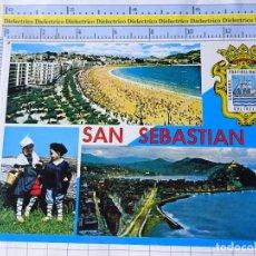 Postales: POSTAL DE GUIPÚZCOA, SAN SEBASTIAN. AÑO 1970. PLAYA DE LA CONCHA, PAREJITA, VISTA DESDE ULIA. 3570. Lote 245122945