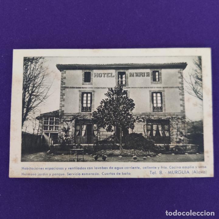 POSTAL DE MURGUIA (ALAVA). HOTEL MARIA. F MESAS. ARTE BILBAO. ORIGINAL. (Postales - España - Pais Vasco Antigua (hasta 1939))