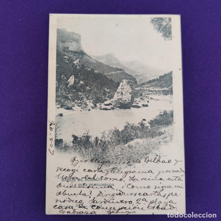 POSTAL DE SOBRON (ALAVA). BAÑOS DE SOBRON. LA PEÑA DERRUMBADA. HAUSER Y MENET. ORIGINAL. (Postales - España - Pais Vasco Antigua (hasta 1939))