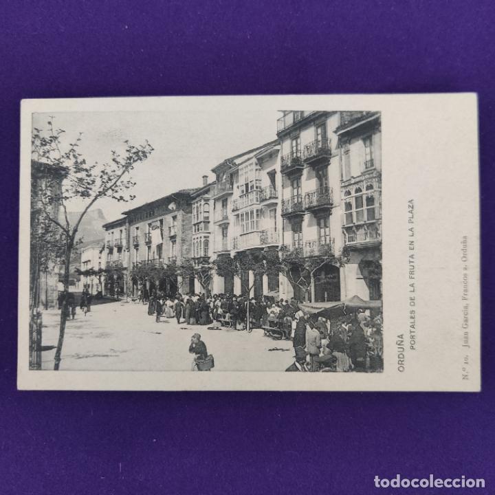 POSTAL DE ORDUÑA (VIZCAYA). Nº10 PORTALES DE LA FRUTA EN LA PLAZA. JUAN GARCIA, FRANCOS 2. (Postales - España - País Vasco Moderna (desde 1940))