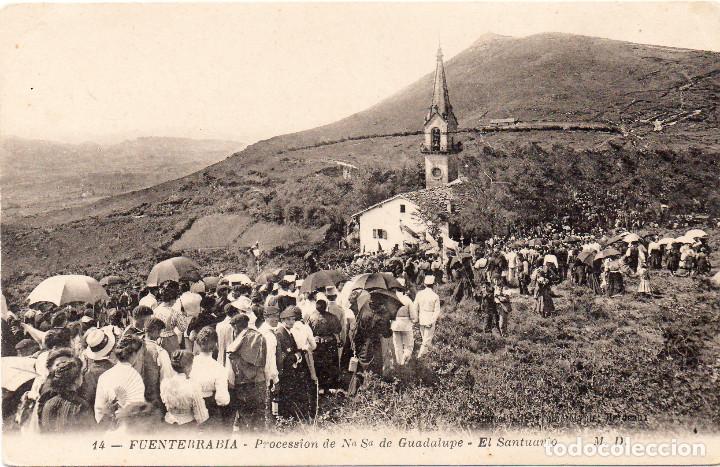POSTAL DE FUENTERRABIA - HONDARRIBIA GUIPÚZCOA PROCESIÓN AL SANTUARIO DE GUADALUPE, EDIT. M.D. (Postales - España - Pais Vasco Antigua (hasta 1939))