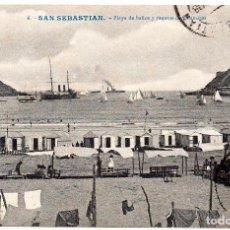 Postales: POSTAL DE SAN SEBASTIÁN GUIPÚZCOA PLAYA DE BAÑOS Y REGATAS DE BALANDROS SELLADA Y RESELLADA 1908. Lote 246963010