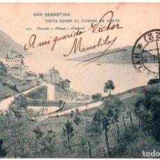 Postales: POSTAL DE SAN SEBASTIÁN GUIPÚZCOA VISTA DESDE EL CAMINO DE AYETE SELLADA Y RESELLADA AÑO 1905. Lote 246963720
