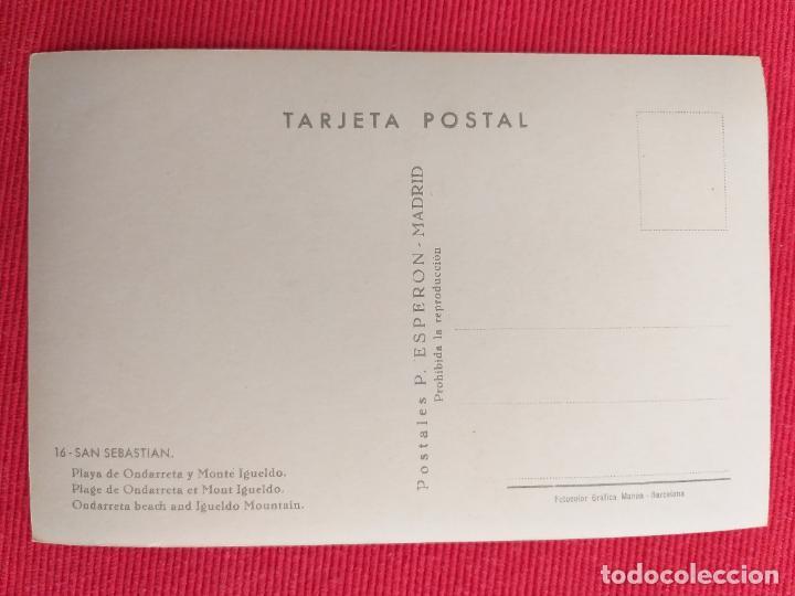 Postales: POSTAL DE SAN SEBASTIAN. 16. PLAYA DE ONDARRETA Y MONTE IGUELDO - Foto 2 - 249259480