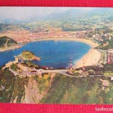 Postales: POSTAL DE SAN SEBASTIÁN. VISTA AÉREA. PUBLICIDAD DEL RESTAURANTE SALDUBA DE SAN SEBASTIÁN. Lote 249259530