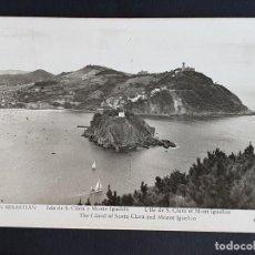 "Postales: POSTAL SAN SEBASTIAN ""ISLA SANTA CLARA Y MONTE IGUELDO"" ED. MANIPEL, CIRCULADA A BÉLGICA 1951. Lote 253915020"