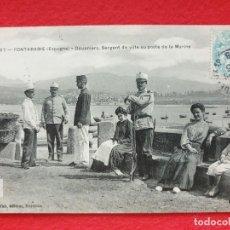 Postales: FUENTERRABIA - HONDARRIBIA GUIPÚZCOA POSTAL ANTIGUA ORIGINAL - GENDARMES CARABINEROS ADUANEROS. Lote 253988125