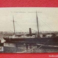 Postales: FUENTERRABIA - HONDARRIBIA GUIPÚZCOA POSTAL ANTIGUA ORIGINAL - BARCO CAÑONERO MAC - MAHON. Lote 253990040