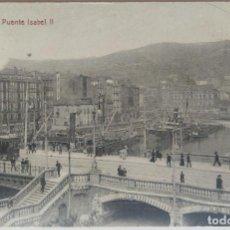 Postales: BILBAO PUENTE ISABEL II CASTAÑEIRA Y ALVAREZ REVERSO PUBLICIDAD SALUD Y BESOY. Lote 253996095