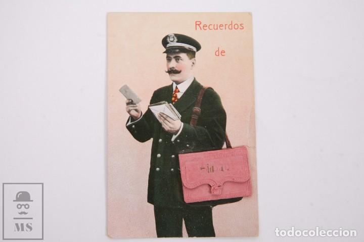 ANTIGUA POSTAL RECUERDOS DE BILBAO - SIN CIRCULAR - CARTERO 10 VISTAS DESPLEGABLES (Postales - España - Pais Vasco Antigua (hasta 1939))