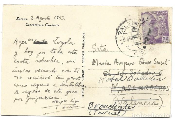 Postales: ZARAUZ. CARRETERA A GUETARIA - FOTOTIPIA HAUSER Y MENET - CIRCULADA AÑO 1943 - Foto 2 - 261939115