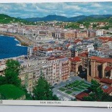 Postales: POSTAL SAN SEBASTIÁN (GUIPÚZCOA), PLAZA DE ZULOAGA Y BARRIO DE GROS, MANIPEL NAYLLA. Lote 263622815