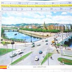 Postales: POSTAL DE GUIPÚZCOA. AÑO 1960 SAN SEBASTIAN, RIO URUMEA Y PUENTES. 68 MANIPEL. 287. Lote 269010729