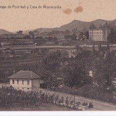 Postales: BILBAO CAMPO DE FOOT BALL (FUTBOL) Y CASA MISERICORDIA. ED. LIBRERIA E. VERDES. SIN CIRCULAR. Lote 269954918
