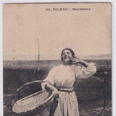 Postales: 34 BILBAO SARDINERAS. CIRCULADA EN 1910. Lote 275054883