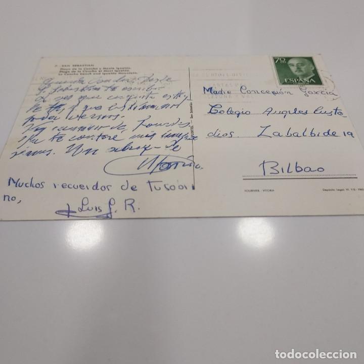 Postales: POSTAL SAN SEBASTIAN PLAYA LA CONCHA MONTE IGUELDO 1965 RARA (GUIPUZCOA) ESCRITA CIRCULADA FUERTES - Foto 2 - 276047333