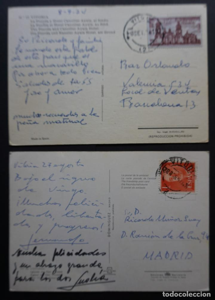 Postales: 2 postales de Vitoria_Gazteiz, circuladas con sello y matasellos, ver foto reverso - Foto 2 - 278458003