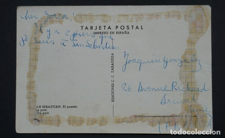 Postales: San Sebastián, El puerto, postal circulada de los años 50. ver foto reverso y comentarios - Foto 2 - 278496773