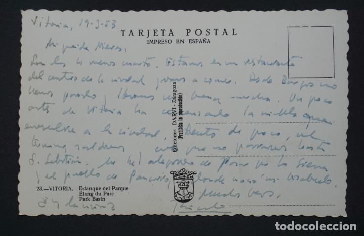 Postales: Vitoria, Estanque del parque, postal circulada del año 1953 - Foto 2 - 278496923